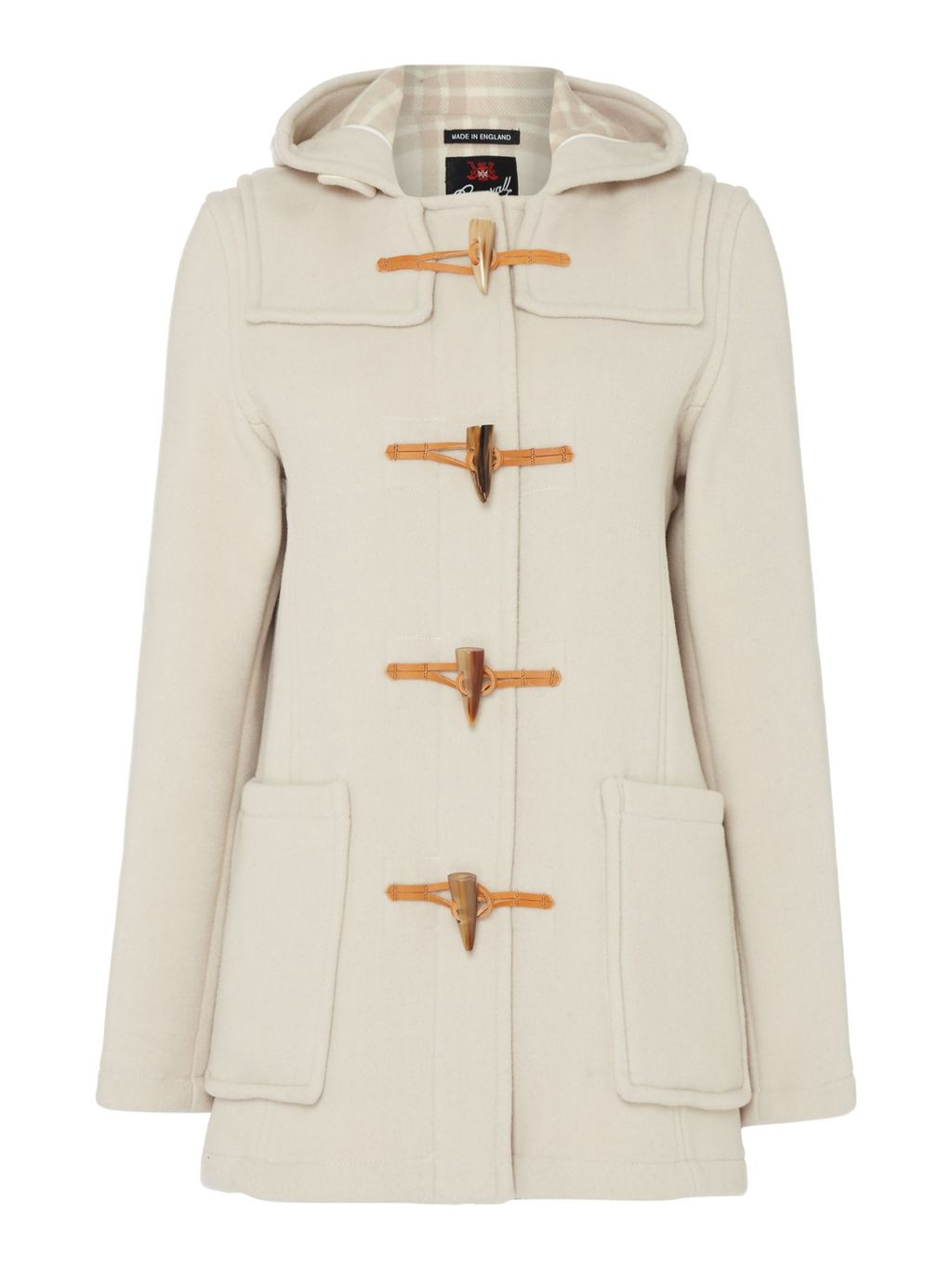 Mid Length Slim Duffle Coat, Oyster - pattern: plain; collar: funnel; back detail: hood; style: duffle coat; length: mid thigh; predominant colour: stone; occasions: casual, creative work; fit: straight cut (boxy); fibres: wool - mix; sleeve length: long sleeve; sleeve style: standard; collar break: high; pattern type: fabric; texture group: woven bulky/heavy; season: s/s 2016; wardrobe: highlight; embellishment location: hip