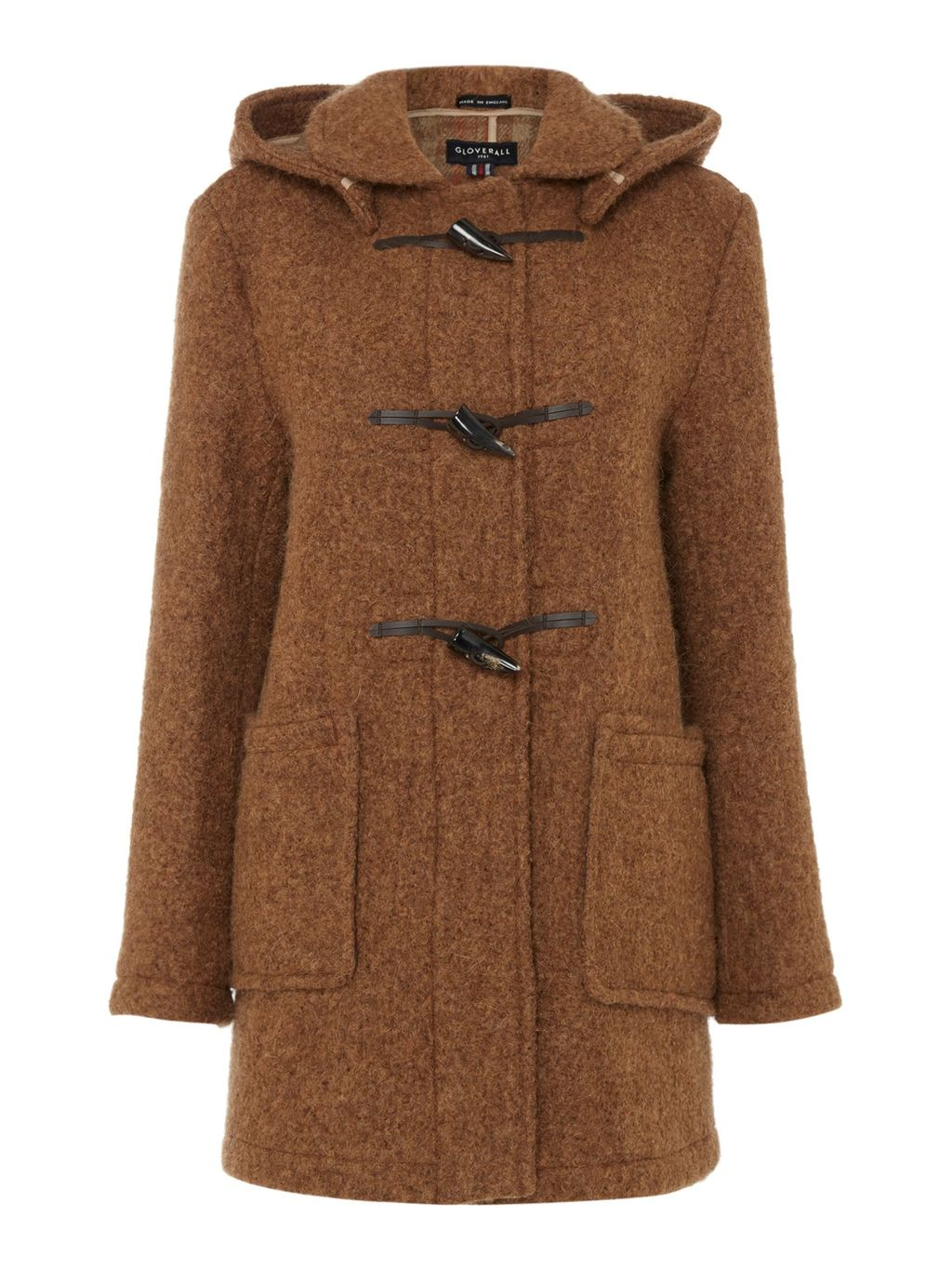 Mid Duffle Coat, Brown - pattern: plain; back detail: hood; collar: high neck; style: duffle coat; length: mid thigh; predominant colour: tan; occasions: casual; fit: straight cut (boxy); fibres: wool - mix; hip detail: added detail/embellishment at hip; sleeve length: long sleeve; sleeve style: standard; collar break: high; pattern type: fabric; texture group: woven bulky/heavy; season: s/s 2016