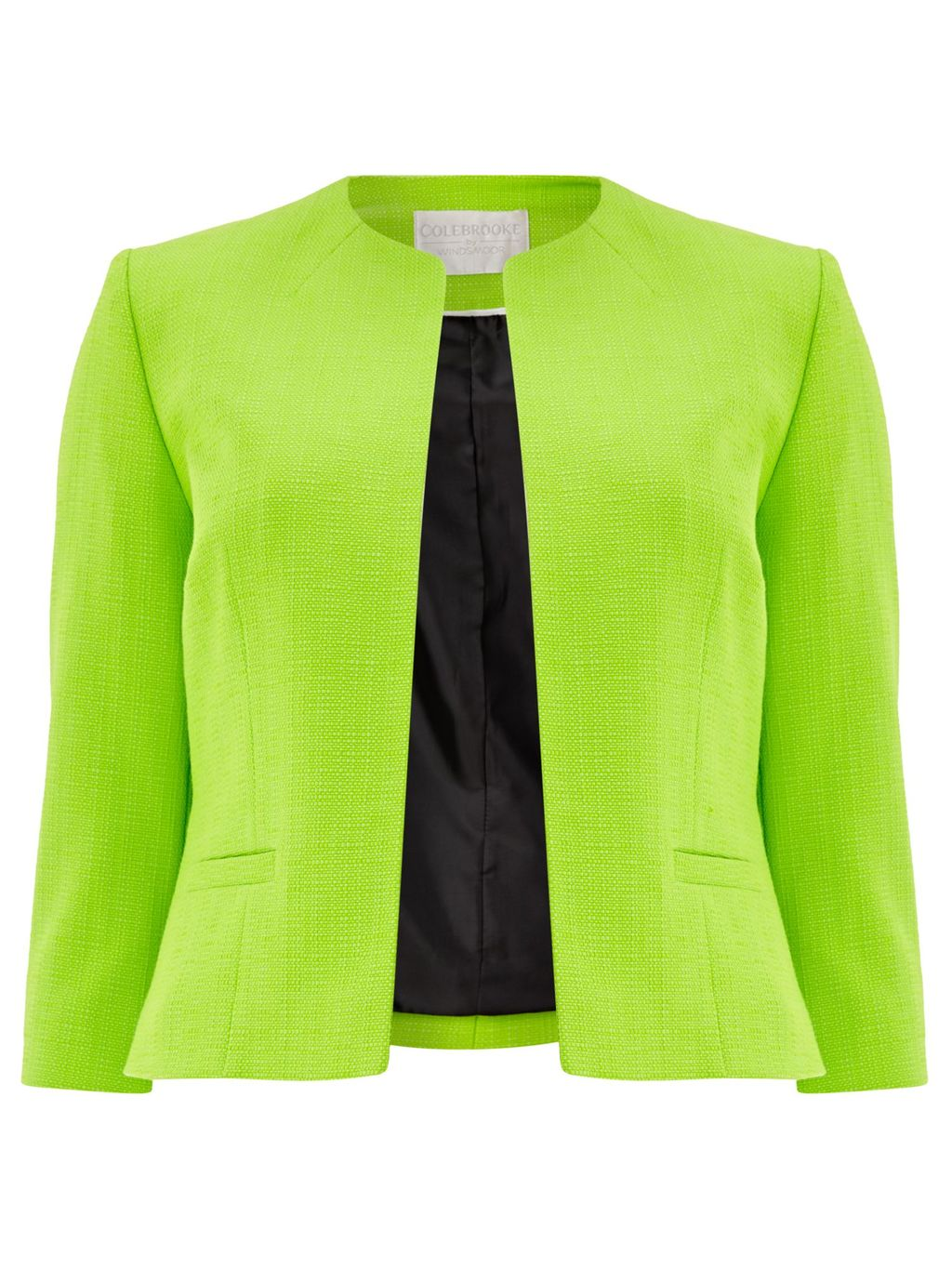 Edge To Edge Pocket Jacket, Green - pattern: plain; style: single breasted blazer; collar: round collar/collarless; predominant colour: lime; occasions: evening, occasion, creative work; length: standard; fit: tailored/fitted; fibres: cotton - mix; sleeve length: 3/4 length; sleeve style: standard; collar break: high/illusion of break when open; pattern type: fabric; texture group: woven light midweight; season: s/s 2016; wardrobe: investment
