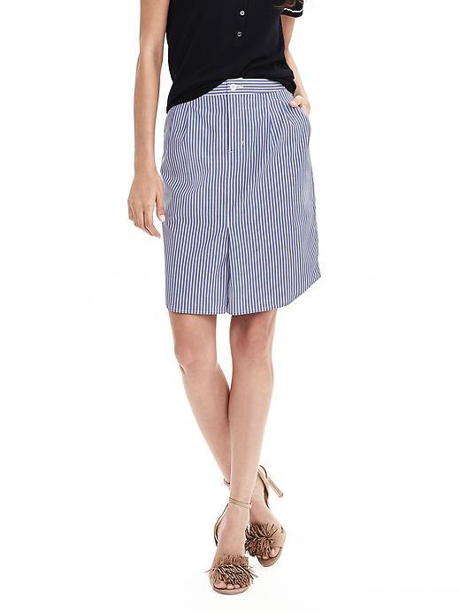 Stripe Shirttail Pencil Skirt Multi Stripe - pattern: striped; style: straight; waist: mid/regular rise; predominant colour: denim; occasions: casual, creative work; length: just above the knee; fibres: cotton - 100%; texture group: cotton feel fabrics; fit: straight cut; pattern type: fabric; pattern size: standard (bottom); season: s/s 2016; wardrobe: highlight