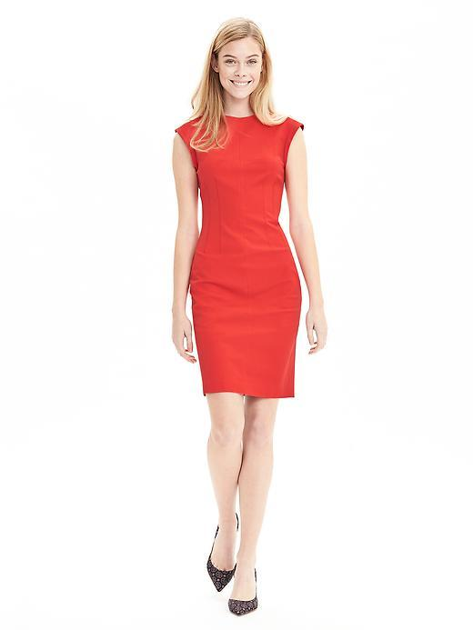 Sloan Fit Crew Sheath Fire Coral - style: shift; sleeve style: capped; fit: tailored/fitted; pattern: plain; predominant colour: true red; occasions: evening; length: just above the knee; fibres: cotton - stretch; neckline: crew; sleeve length: short sleeve; texture group: cotton feel fabrics; pattern type: fabric; season: s/s 2016