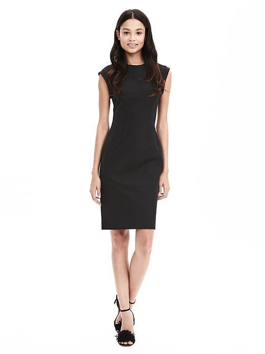 Sloan Fit Crew Sheath Black - style: shift; sleeve style: capped; pattern: plain; predominant colour: black; occasions: evening; length: on the knee; fit: body skimming; fibres: cotton - stretch; neckline: crew; sleeve length: short sleeve; pattern type: fabric; texture group: jersey - stretchy/drapey; season: s/s 2016; wardrobe: event