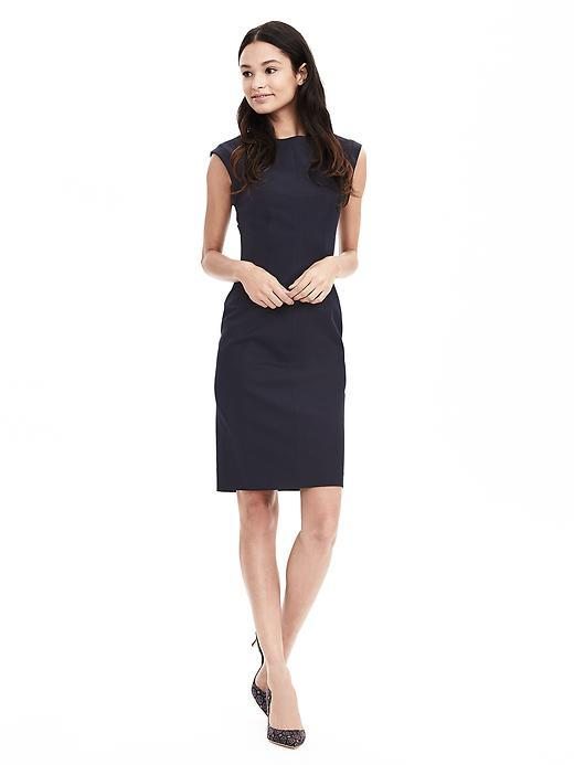 Sloan Fit Crew Sheath Preppy Navy - style: shift; sleeve style: capped; fit: tailored/fitted; pattern: plain; predominant colour: navy; occasions: evening; length: on the knee; fibres: cotton - stretch; neckline: crew; sleeve length: short sleeve; pattern type: fabric; texture group: other - light to midweight; season: s/s 2016; wardrobe: event