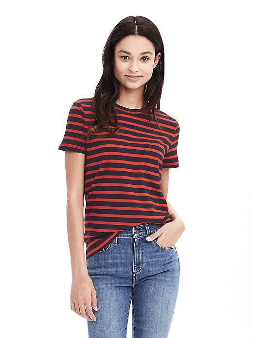 Striped Cotton Pocket Tee Preppy Navy - pattern: horizontal stripes; style: t-shirt; secondary colour: true red; predominant colour: black; occasions: casual; length: standard; fibres: cotton - 100%; fit: body skimming; neckline: crew; sleeve length: short sleeve; sleeve style: standard; pattern type: fabric; pattern size: standard; texture group: jersey - stretchy/drapey; season: s/s 2016