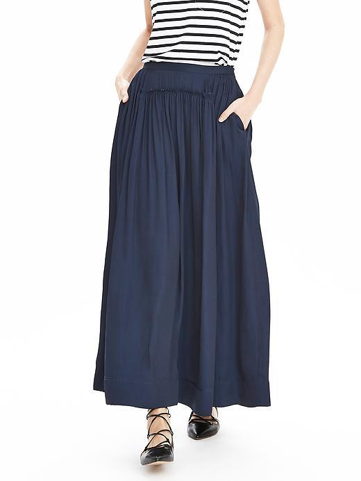 Charmeuse Maxi Skirt Preppy Navy - pattern: plain; style: full/prom skirt; length: ankle length; fit: loose/voluminous; waist: high rise; predominant colour: navy; occasions: casual, creative work; fibres: polyester/polyamide - 100%; hip detail: subtle/flattering hip detail; pattern type: fabric; texture group: other - light to midweight; season: s/s 2016; wardrobe: basic