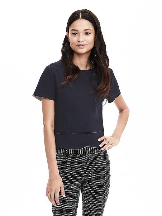 Raw Edge Knit Top Preppy Navy - pattern: plain; predominant colour: navy; occasions: casual; length: standard; style: top; fibres: cotton - mix; fit: body skimming; neckline: crew; sleeve length: short sleeve; sleeve style: standard; texture group: knits/crochet; pattern type: fabric; season: s/s 2016