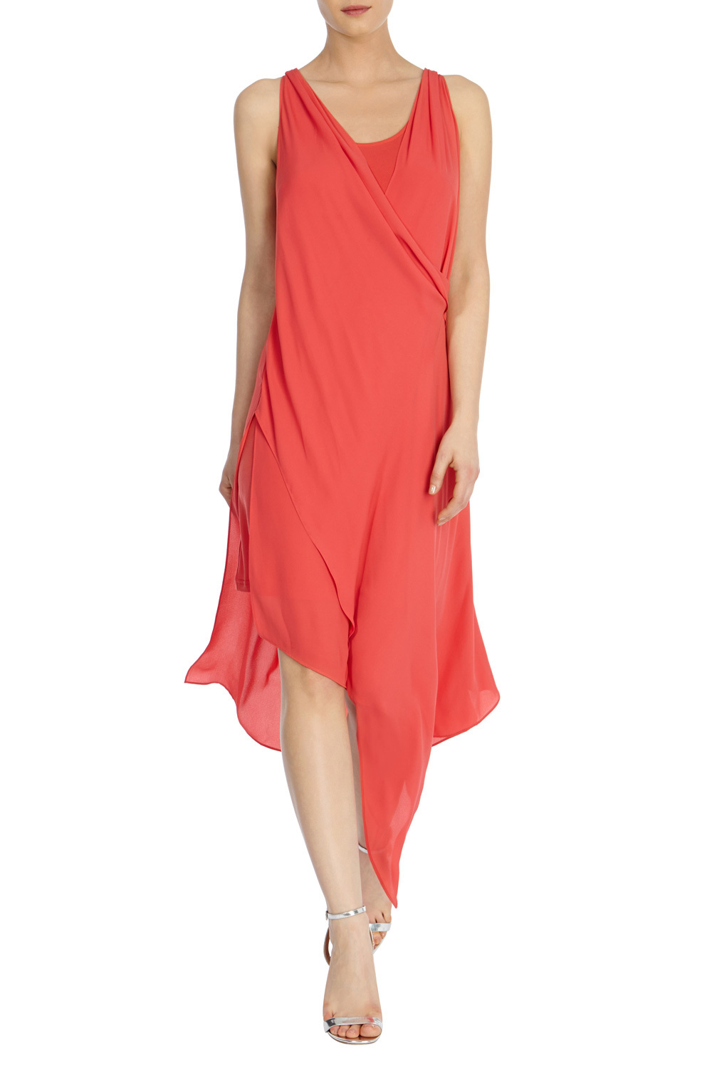Elba Drape Dress - pattern: plain; sleeve style: sleeveless; bust detail: subtle bust detail; predominant colour: coral; length: on the knee; fit: soft a-line; style: asymmetric (hem); neckline: scoop; fibres: silk - 100%; occasions: occasion; hip detail: subtle/flattering hip detail; sleeve length: sleeveless; texture group: sheer fabrics/chiffon/organza etc.; pattern type: fabric; season: s/s 2016; wardrobe: event