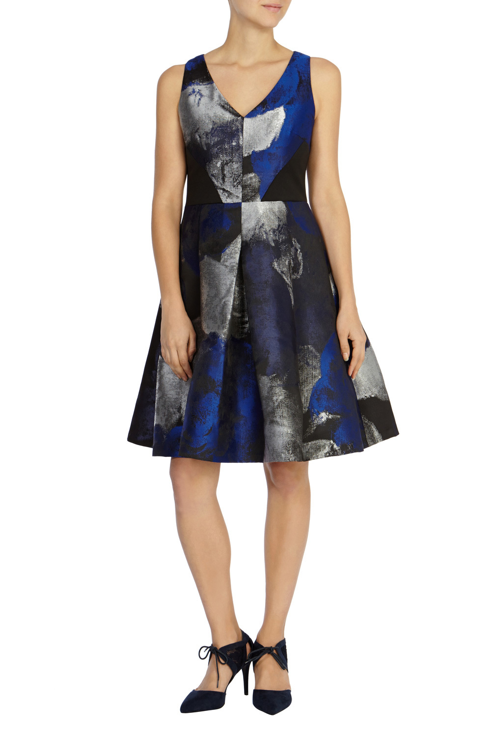 Tahlia Jacquard Dress - style: faux wrap/wrap; neckline: low v-neck; sleeve style: sleeveless; secondary colour: royal blue; predominant colour: black; occasions: evening, occasion; length: on the knee; fit: fitted at waist & bust; fibres: polyester/polyamide - 100%; sleeve length: sleeveless; texture group: structured shiny - satin/tafetta/silk etc.; pattern type: fabric; pattern size: light/subtle; pattern: patterned/print; season: s/s 2016