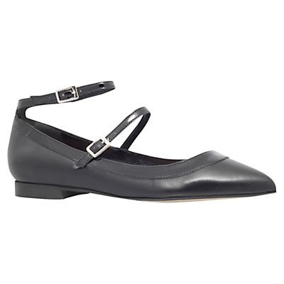 Lucy Cross Strap Pointed Toe Flat Pumps, Black Leather - predominant colour: black; occasions: casual, creative work; material: faux shearling; heel height: flat; ankle detail: ankle strap; toe: pointed toe; style: ballerinas / pumps; finish: plain; pattern: plain; season: s/s 2016; wardrobe: highlight