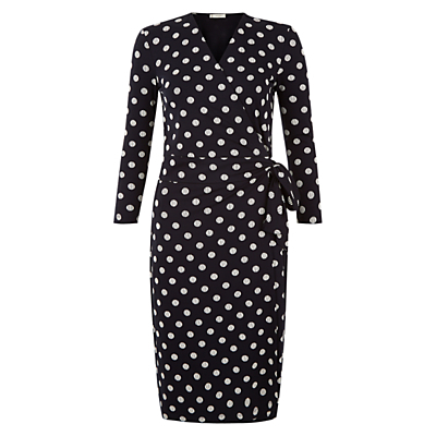 Sally Spot Dress, Navy/Ivory - style: faux wrap/wrap; length: below the knee; neckline: v-neck; pattern: polka dot; waist detail: belted waist/tie at waist/drawstring; secondary colour: ivory/cream; predominant colour: navy; fit: body skimming; fibres: polyester/polyamide - stretch; sleeve length: long sleeve; sleeve style: standard; pattern type: fabric; pattern size: standard; texture group: jersey - stretchy/drapey; occasions: creative work; season: s/s 2016; wardrobe: highlight