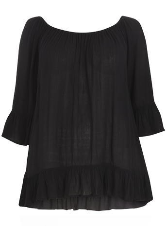 Black Frill Gypsy Top - pattern: plain; predominant colour: black; occasions: casual; length: standard; style: top; neckline: scoop; fibres: viscose/rayon - 100%; fit: loose; sleeve length: 3/4 length; sleeve style: standard; pattern type: fabric; texture group: woven light midweight; season: s/s 2016; trends: boho