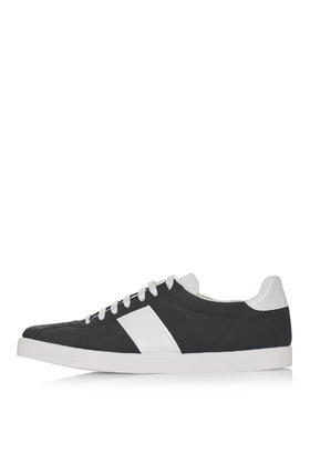Caper Lace Up Sneakers - secondary colour: white; predominant colour: black; occasions: casual; material: faux leather; heel height: flat; toe: round toe; style: trainers; finish: plain; pattern: striped; shoe detail: moulded soul; season: s/s 2016