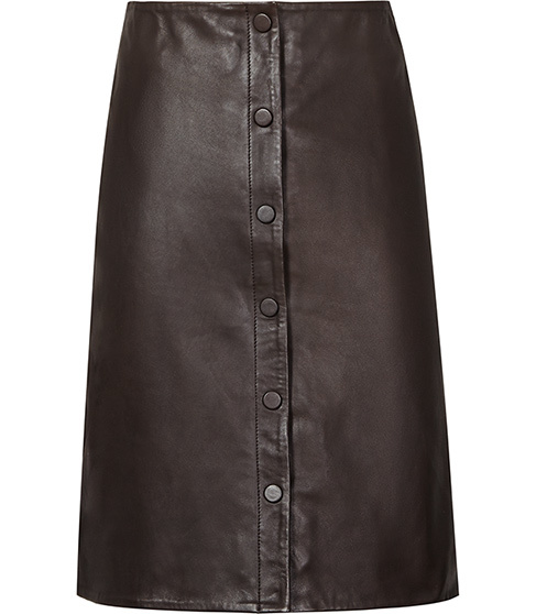 Penelope Button Front Leather Skirt - pattern: plain; style: pencil; fit: tailored/fitted; waist: high rise; predominant colour: black; occasions: casual, evening, creative work; length: just above the knee; fibres: leather - 100%; texture group: leather; pattern type: fabric; season: s/s 2016