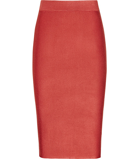 Steva Knitted Pencil Skirt - length: below the knee; pattern: plain; style: pencil; fit: tailored/fitted; waist: high rise; predominant colour: true red; occasions: evening; fibres: viscose/rayon - stretch; waist detail: feature waist detail; texture group: knits/crochet; pattern type: fabric; season: s/s 2016; wardrobe: event
