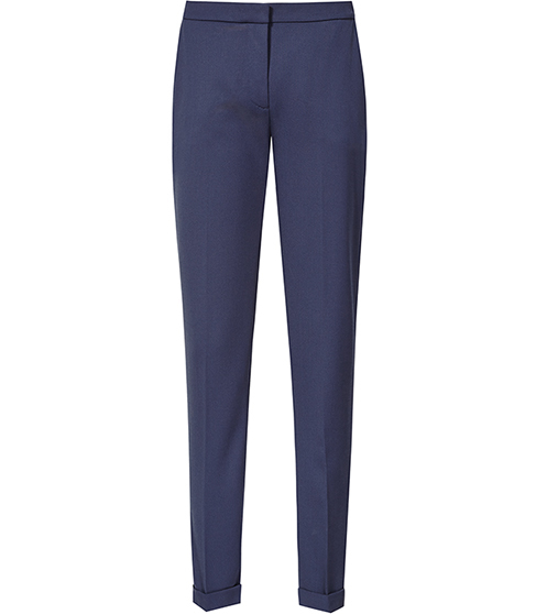 Barratt Straight Leg Trousers - length: standard; pattern: plain; waist: mid/regular rise; predominant colour: navy; fibres: polyester/polyamide - 100%; texture group: crepes; fit: slim leg; pattern type: fabric; style: standard; occasions: creative work; season: s/s 2016; wardrobe: basic