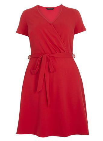 Womens **Dp Curve Red Wrap Dress Red - style: faux wrap/wrap; neckline: v-neck; pattern: plain; waist detail: belted waist/tie at waist/drawstring; predominant colour: true red; occasions: evening; length: just above the knee; fit: body skimming; fibres: cotton - stretch; sleeve length: short sleeve; sleeve style: standard; pattern type: fabric; texture group: jersey - stretchy/drapey; season: s/s 2016; wardrobe: event