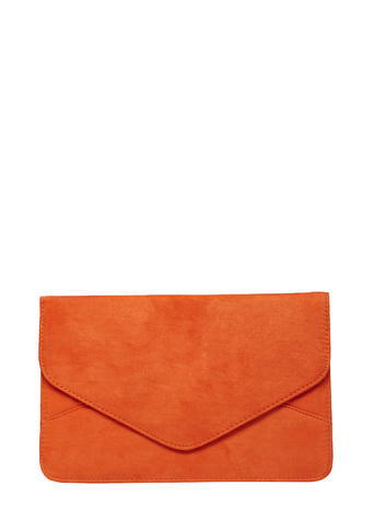 Womens Orange Faux Suede Clutch Bag Coral - predominant colour: bright orange; occasions: evening, occasion; type of pattern: standard; style: clutch; length: hand carry; size: small; material: suede; pattern: plain; finish: plain; season: s/s 2016; wardrobe: event
