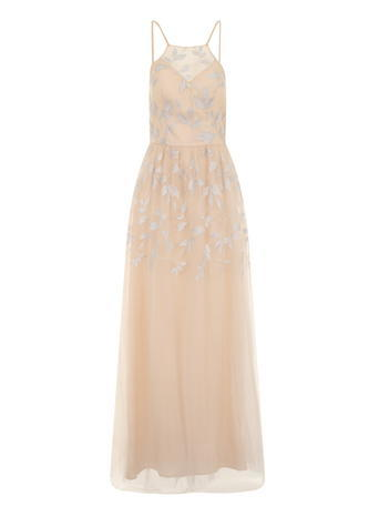 Womens **Chi Chi London High Neck Maxi Dress Nude - pattern: plain; sleeve style: sleeveless; style: maxi dress; bust detail: added detail/embellishment at bust; waist detail: fitted waist; predominant colour: blush; occasions: evening; length: floor length; fit: body skimming; fibres: polyester/polyamide - 100%; sleeve length: sleeveless; texture group: sheer fabrics/chiffon/organza etc.; neckline: medium square neck; pattern type: fabric; embellishment: lace; season: s/s 2016