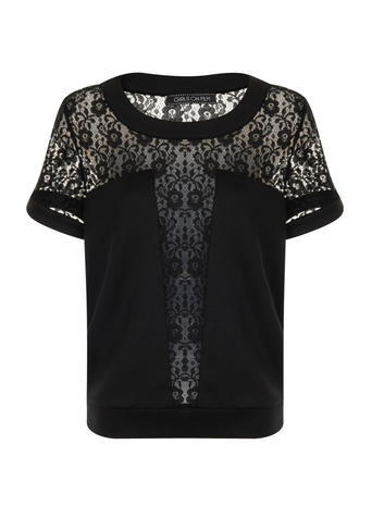 Womens **Girls On Film Black Lace Front Panel T Shirt Black - neckline: round neck; style: t-shirt; predominant colour: black; occasions: evening; length: standard; fibres: polyester/polyamide - stretch; fit: straight cut; sleeve length: short sleeve; sleeve style: standard; texture group: lace; pattern type: fabric; pattern size: standard; pattern: patterned/print; season: s/s 2016; wardrobe: event