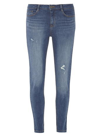 Womens Mid Wash 'darcy' Distressed Ankle Grazer Skinny Jeans Blue - style: skinny leg; length: standard; pattern: plain; waist: mid/regular rise; predominant colour: denim; occasions: casual; fibres: cotton - stretch; jeans detail: shading down centre of thigh; texture group: denim; pattern type: fabric; season: s/s 2016; wardrobe: basic