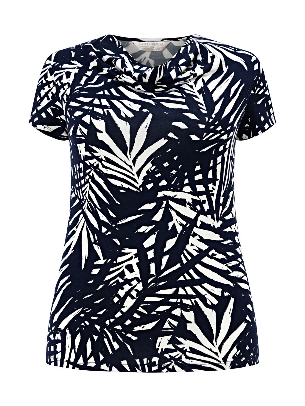 Palm Leaf Cowl Neck Top, Navy/White - secondary colour: white; predominant colour: black; occasions: casual, creative work; length: standard; style: top; fit: body skimming; neckline: crew; sleeve length: short sleeve; sleeve style: standard; trends: monochrome; pattern type: fabric; pattern: patterned/print; texture group: jersey - stretchy/drapey; fibres: viscose/rayon - mix; pattern size: big & busy (top); season: s/s 2016; wardrobe: highlight
