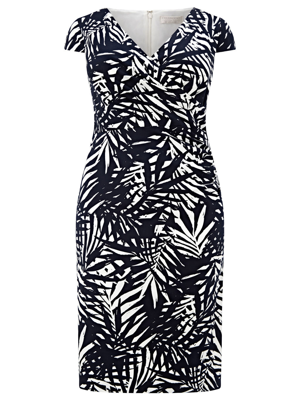 Palm Leaf Printed Dress - style: shift; neckline: low v-neck; sleeve style: capped; fit: tailored/fitted; secondary colour: white; predominant colour: navy; length: on the knee; fibres: cotton - stretch; occasions: occasion; sleeve length: short sleeve; texture group: jersey - clingy; pattern type: fabric; pattern size: big & busy; pattern: florals; season: s/s 2016; wardrobe: event
