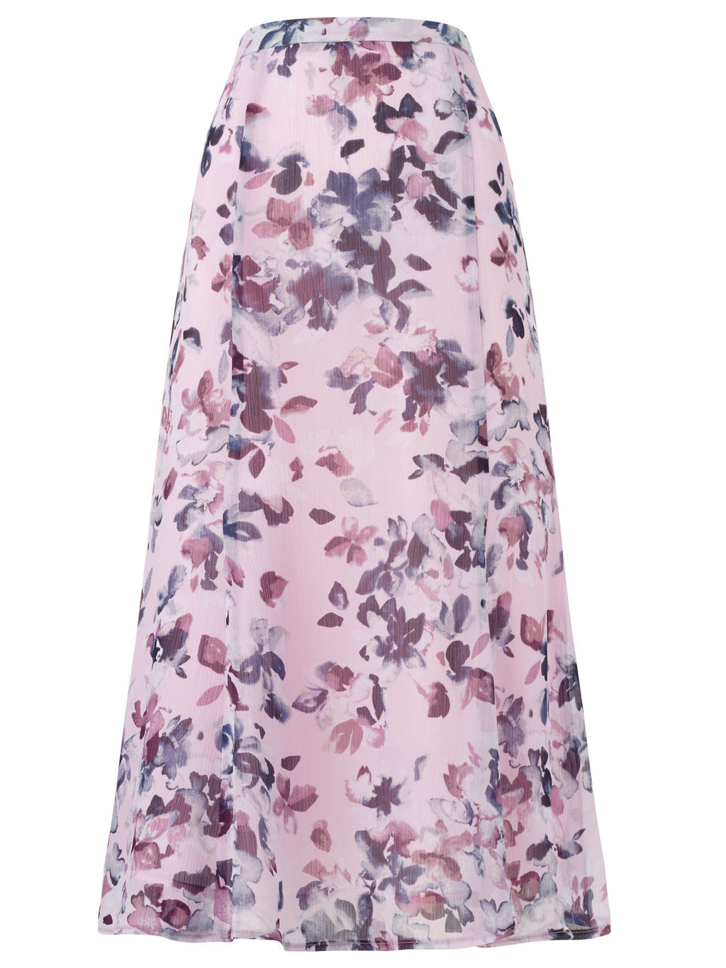 Watercolour Floral Skirt - length: calf length; style: full/prom skirt; fit: loose/voluminous; waist: high rise; predominant colour: purple; secondary colour: lilac; fibres: polyester/polyamide - 100%; occasions: occasion; waist detail: feature waist detail; pattern type: fabric; pattern: florals; texture group: woven light midweight; pattern size: big & busy (bottom); multicoloured: multicoloured; season: s/s 2016; wardrobe: event