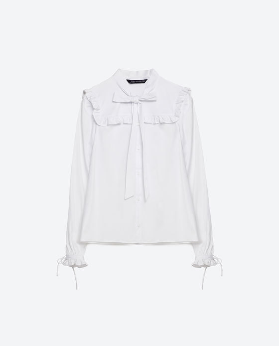 Frilled Poplin Blouse - neckline: shirt collar/peter pan/zip with opening; pattern: plain; style: blouse; bust detail: ruching/gathering/draping/layers/pintuck pleats at bust; predominant colour: white; occasions: work; length: standard; fibres: polyester/polyamide - 100%; fit: loose; sleeve length: long sleeve; sleeve style: standard; texture group: sheer fabrics/chiffon/organza etc.; pattern type: fabric; season: s/s 2016; wardrobe: basic