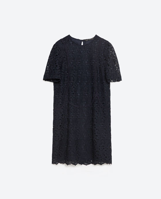 Lace Dress - style: shift; length: mid thigh; pattern: plain; predominant colour: navy; occasions: evening; fit: body skimming; fibres: polyester/polyamide - 100%; neckline: crew; sleeve length: short sleeve; sleeve style: standard; texture group: lace; pattern type: fabric; pattern size: standard; season: s/s 2016; wardrobe: event