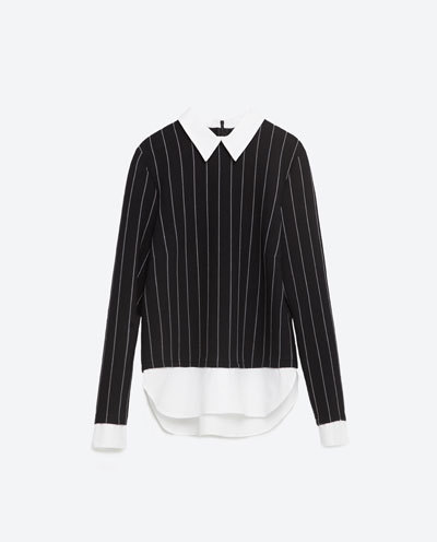 Contrast Poplin Top - pattern: pinstripe; style: blouse; secondary colour: white; predominant colour: black; occasions: casual; length: standard; fibres: polyester/polyamide - stretch; fit: body skimming; neckline: no opening/shirt collar/peter pan; sleeve length: long sleeve; sleeve style: standard; trends: monochrome; texture group: cotton feel fabrics; pattern type: fabric; multicoloured: multicoloured; season: s/s 2016; wardrobe: highlight
