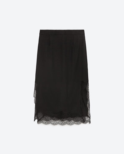 Contrast Lace Skirt - length: below the knee; fit: loose/voluminous; waist: mid/regular rise; predominant colour: black; occasions: evening; style: a-line; fibres: viscose/rayon - 100%; texture group: lace; pattern type: fabric; pattern: patterned/print; embellishment: lace; season: s/s 2016; wardrobe: event; embellishment location: hem
