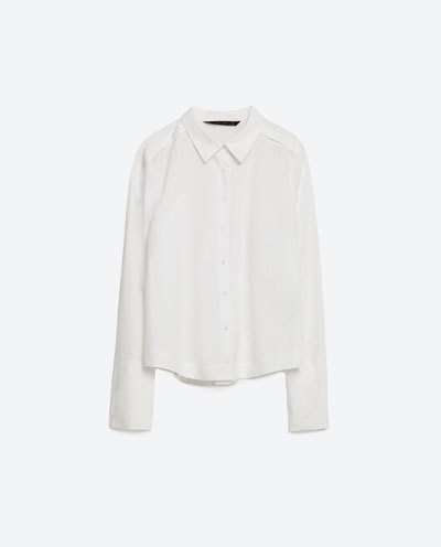 Cropped Poplin Shirt With Back Detail - neckline: shirt collar/peter pan/zip with opening; pattern: plain; style: shirt; predominant colour: white; occasions: casual; length: standard; fibres: cotton - 100%; fit: body skimming; sleeve length: long sleeve; sleeve style: standard; texture group: cotton feel fabrics; pattern type: fabric; season: s/s 2016; wardrobe: basic