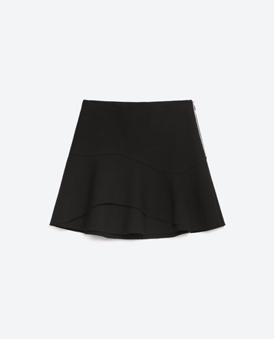 Skirt With Mini Frill - length: mini; pattern: plain; fit: loose/voluminous; waist: mid/regular rise; predominant colour: black; occasions: casual, creative work; style: mini skirt; fibres: polyester/polyamide - stretch; hip detail: subtle/flattering hip detail; pattern type: fabric; texture group: other - light to midweight; season: s/s 2016; wardrobe: basic