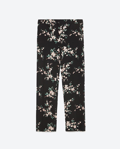 Floral Print Trousers - waist: mid/regular rise; predominant colour: blush; secondary colour: black; occasions: casual, creative work; length: ankle length; fibres: polyester/polyamide - 100%; fit: straight leg; pattern type: fabric; pattern: florals; texture group: woven light midweight; style: standard; season: s/s 2016; wardrobe: highlight