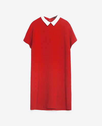 Poplin Collar Dress - style: shift; pattern: plain; secondary colour: white; predominant colour: true red; occasions: casual; length: just above the knee; fit: body skimming; neckline: no opening/shirt collar/peter pan; sleeve length: short sleeve; sleeve style: standard; pattern type: fabric; texture group: other - light to midweight; fibres: viscose/rayon - mix; multicoloured: multicoloured; season: s/s 2016; wardrobe: highlight