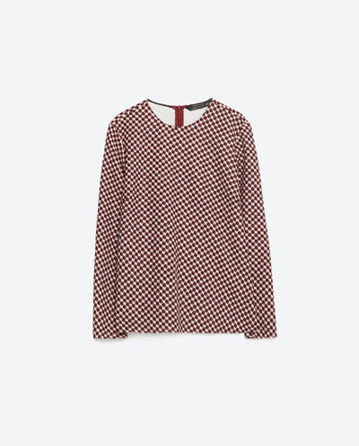 Printed Top With Back Detail - secondary colour: white; predominant colour: true red; occasions: casual; length: standard; style: top; fibres: polyester/polyamide - stretch; fit: body skimming; neckline: crew; sleeve length: long sleeve; sleeve style: standard; texture group: crepes; pattern type: fabric; pattern: patterned/print; multicoloured: multicoloured; season: s/s 2016; wardrobe: highlight
