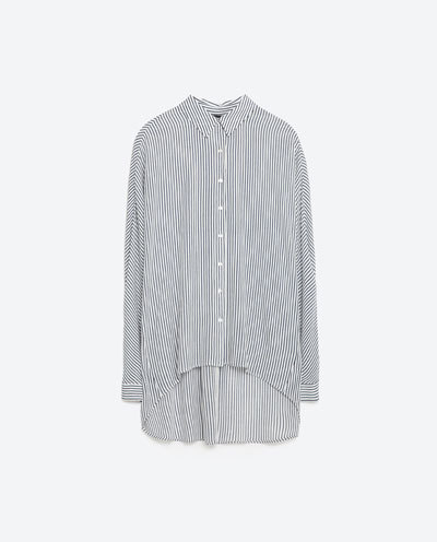 Oversize Shirt - neckline: shirt collar/peter pan/zip with opening; pattern: vertical stripes; length: below the bottom; style: shirt; secondary colour: white; predominant colour: black; occasions: casual; fibres: viscose/rayon - 100%; fit: loose; sleeve length: long sleeve; sleeve style: standard; texture group: cotton feel fabrics; pattern type: fabric; multicoloured: multicoloured; season: s/s 2016; wardrobe: highlight