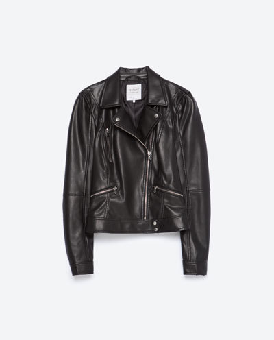 Biker Jacket - pattern: plain; style: biker; collar: asymmetric biker; predominant colour: black; occasions: casual, evening, creative work; length: standard; fit: tailored/fitted; fibres: leather - 100%; sleeve length: long sleeve; sleeve style: standard; texture group: leather; collar break: medium; pattern type: fabric; season: s/s 2016; wardrobe: basic