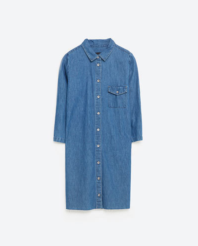 Shirt Dress - style: shirt; length: mid thigh; neckline: shirt collar/peter pan/zip with opening; pattern: plain; predominant colour: denim; occasions: casual, creative work; fit: straight cut; fibres: cotton - 100%; sleeve length: long sleeve; sleeve style: standard; texture group: denim; pattern type: fabric; season: s/s 2016