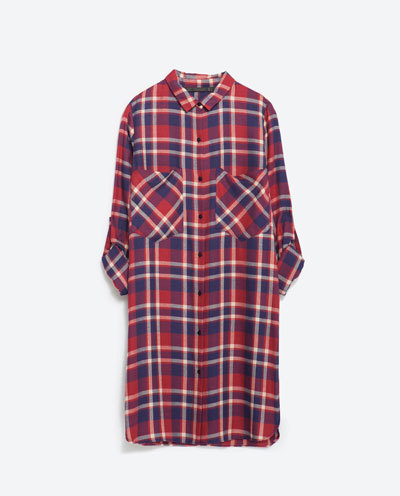 Long Check Shirt - neckline: shirt collar/peter pan/zip with opening; pattern: checked/gingham; length: below the bottom; style: blouse; predominant colour: true red; secondary colour: navy; occasions: casual, creative work; fibres: polyester/polyamide - 100%; fit: straight cut; sleeve length: long sleeve; sleeve style: standard; texture group: cotton feel fabrics; pattern type: fabric; pattern size: standard; season: s/s 2016; wardrobe: highlight