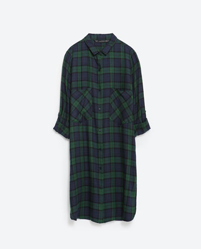 Long Check Shirt - neckline: shirt collar/peter pan/zip with opening; pattern: checked/gingham; length: below the bottom; style: shirt; predominant colour: navy; secondary colour: dark green; occasions: casual, creative work; fibres: polyester/polyamide - 100%; fit: tailored/fitted; sleeve length: 3/4 length; sleeve style: standard; texture group: cotton feel fabrics; pattern type: fabric; pattern size: standard; season: s/s 2016