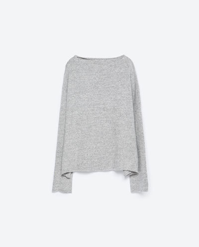Soft Touch Sweater - neckline: slash/boat neckline; sleeve style: dolman/batwing; style: standard; predominant colour: mid grey; occasions: casual, creative work; length: standard; fibres: cotton - 100%; fit: loose; sleeve length: long sleeve; texture group: knits/crochet; pattern type: knitted - fine stitch; pattern size: light/subtle; pattern: marl; season: s/s 2016; wardrobe: basic