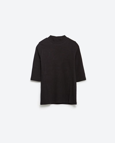 Basic Top - pattern: plain; neckline: high neck; predominant colour: black; occasions: casual, creative work; length: standard; style: top; fibres: polyester/polyamide - 100%; fit: body skimming; sleeve length: half sleeve; sleeve style: standard; pattern type: fabric; texture group: jersey - stretchy/drapey; season: s/s 2016; wardrobe: basic