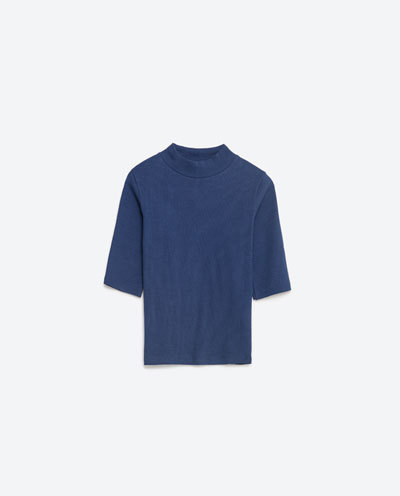 Basic Top - pattern: plain; neckline: high neck; style: t-shirt; predominant colour: navy; occasions: casual; length: standard; fibres: cotton - stretch; fit: straight cut; sleeve length: half sleeve; sleeve style: standard; pattern type: fabric; texture group: jersey - stretchy/drapey; season: s/s 2016; wardrobe: basic