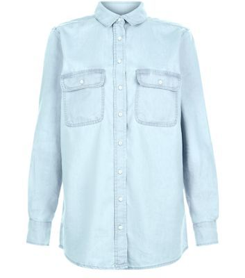 Light Blue Denim Oversized Long Sleeve Shirt - neckline: shirt collar/peter pan/zip with opening; pattern: plain; style: shirt; predominant colour: pale blue; occasions: casual; length: standard; fibres: polyester/polyamide - mix; fit: loose; sleeve length: long sleeve; sleeve style: standard; texture group: denim; pattern type: fabric; season: s/s 2016; wardrobe: basic