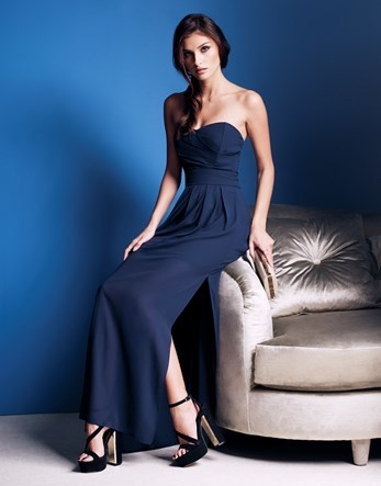 Thigh Spilt Maxi Dress - neckline: strapless (straight/sweetheart); pattern: plain; style: maxi dress; sleeve style: strapless; length: ankle length; predominant colour: navy; occasions: evening; fit: body skimming; fibres: polyester/polyamide - 100%; hip detail: slits at hip; sleeve length: sleeveless; pattern type: fabric; texture group: jersey - stretchy/drapey; season: s/s 2016; wardrobe: event