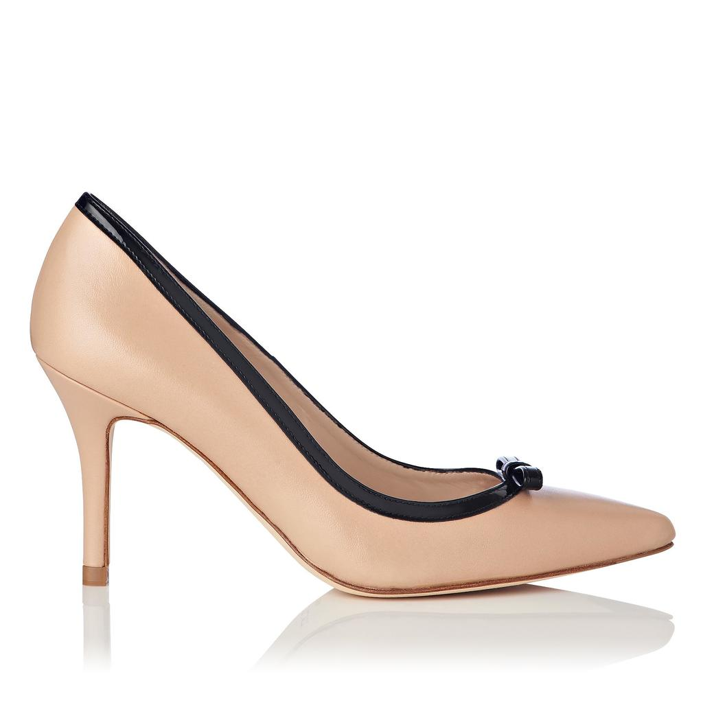 Farell Tan Pointed Heels Nude Trench - predominant colour: nude; secondary colour: black; occasions: evening, occasion; material: leather; heel height: high; heel: stiletto; toe: pointed toe; style: courts; finish: plain; pattern: colourblock; season: s/s 2016
