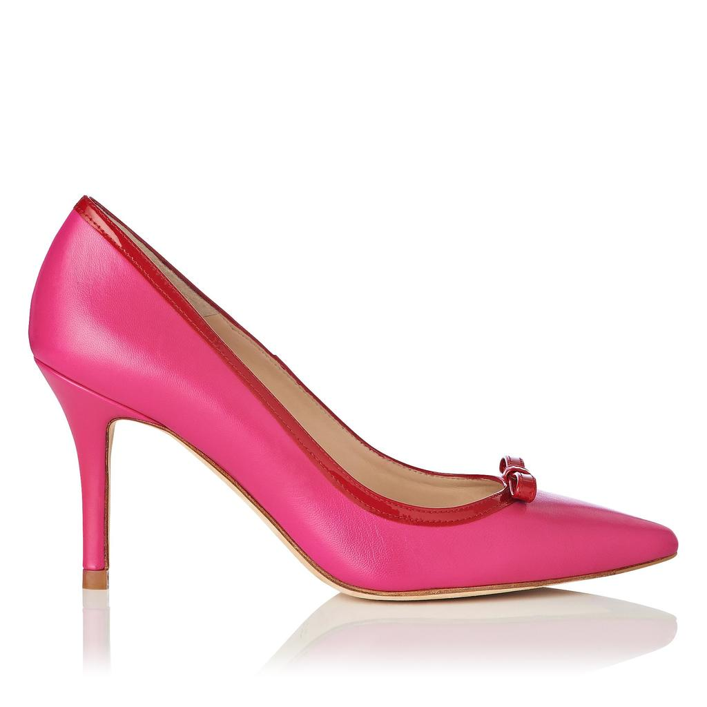 Farell Red Pointed Heels Pink Fuchsia - predominant colour: hot pink; secondary colour: true red; occasions: evening, occasion; material: leather; heel height: high; heel: stiletto; toe: pointed toe; style: courts; finish: plain; pattern: plain; season: s/s 2016; wardrobe: event