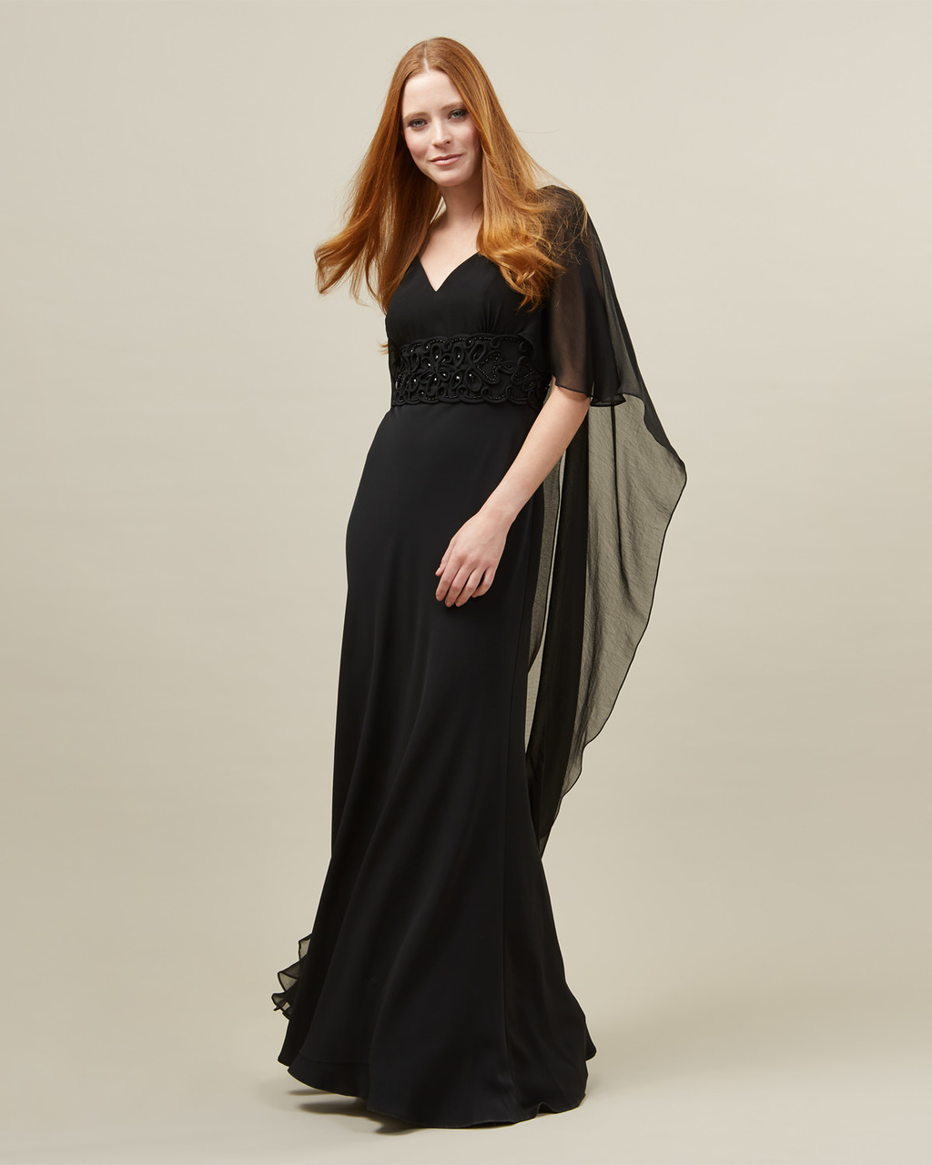 Vera Cape Dress - neckline: v-neck; pattern: plain; style: maxi dress; predominant colour: black; length: floor length; fit: body skimming; fibres: polyester/polyamide - 100%; occasions: occasion; sleeve style: cape sleeve; sleeve length: half sleeve; texture group: sheer fabrics/chiffon/organza etc.; pattern type: fabric; embellishment: beading; season: s/s 2016; wardrobe: event; embellishment location: waist