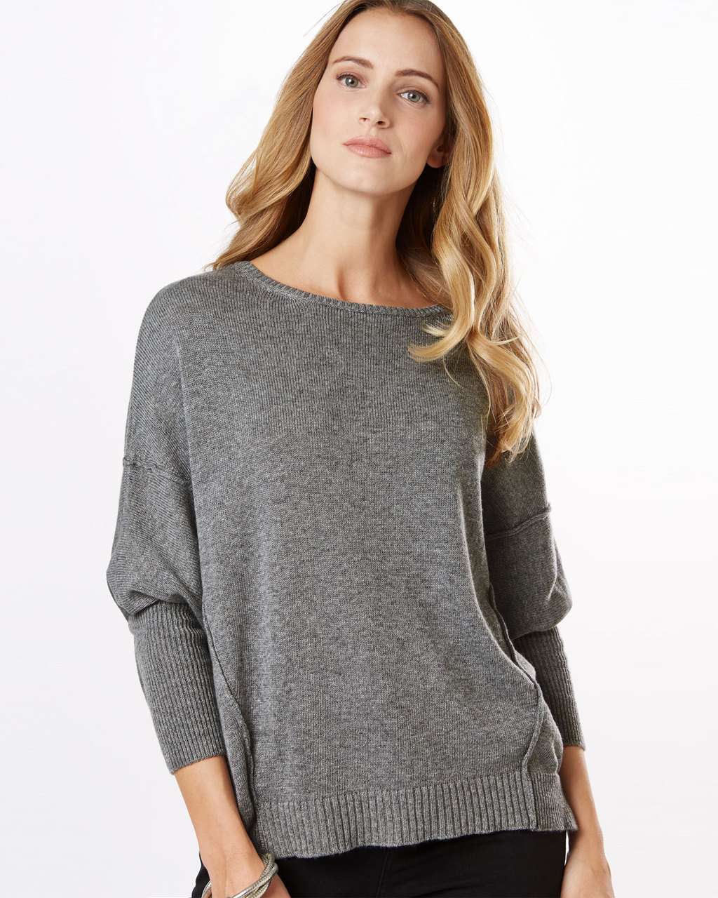 Ebony Exposed Seam Jumper - neckline: round neck; sleeve style: dolman/batwing; pattern: plain; style: standard; predominant colour: mid grey; occasions: casual, creative work; length: standard; fibres: wool - mix; fit: loose; sleeve length: long sleeve; texture group: knits/crochet; pattern type: knitted - fine stitch; season: s/s 2016; wardrobe: basic